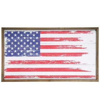 UTC31095: Wood Rectangle Wall Art with Distressed USA Flag Printed Smooth Finish Multicolor - N/A