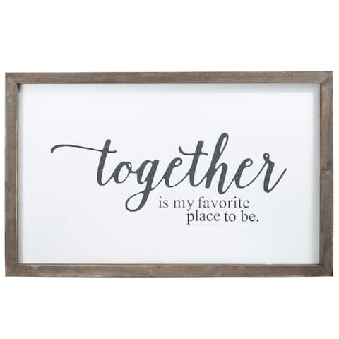 """UTC55125: Wood Rectangle Wall Art with Frame, """"Together"""" Printed in Cursive Painted Finish White - N/A"""