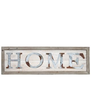 """UTC26518: Wood Rectangle Wall Art with Frame and Rustic Galvanized """"HOME"""" Natural Finish Brown - N/A"""
