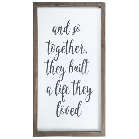 """UTC55123: Wood Rectangle Wall Art with Frame, """"Together Quote"""" Printed in Cursive Painted Finish White - N/A"""