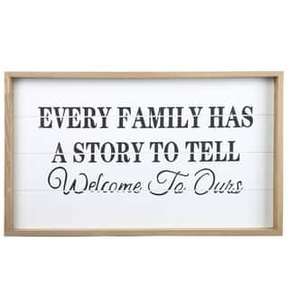 """UTC17111: Wood Rectangle Wall Art with Frame, Printed """"FAMILY ORIENTED QUOTE"""" Smooth Finish Tan - N/A"""