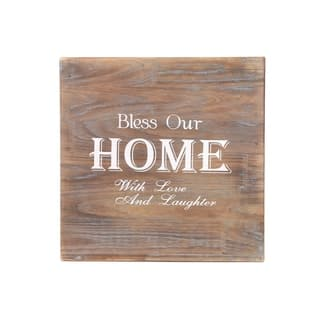 """UTC17713: Wood Square Wall Art with Printed """"Bless Our Home"""" Printed Natural Finish Brown - N/A"""