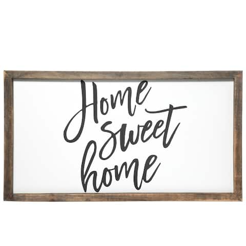 """UTC55122: Wood Rectangle Wall Art with Frame, """"Home Sweet Home"""" Printed in Cursive Painted Finish White - N/A"""