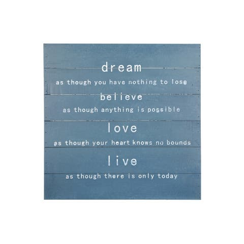 """UTC94652: Wood Square Wall Art with """"Dream, Believe, Love, Live"""" Painted Finish Cyan - N/A"""