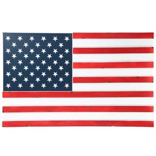 UTC40889: Wood Rectangle Wall Art with American Flag in Colored Design Painted Finish Multicolor - N/A