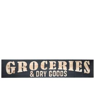 """UTC57842: Wood Rectangle Wall Art with Carved """"GROCERIES & DRY GOODS"""" Painted Finish Black - N/A"""