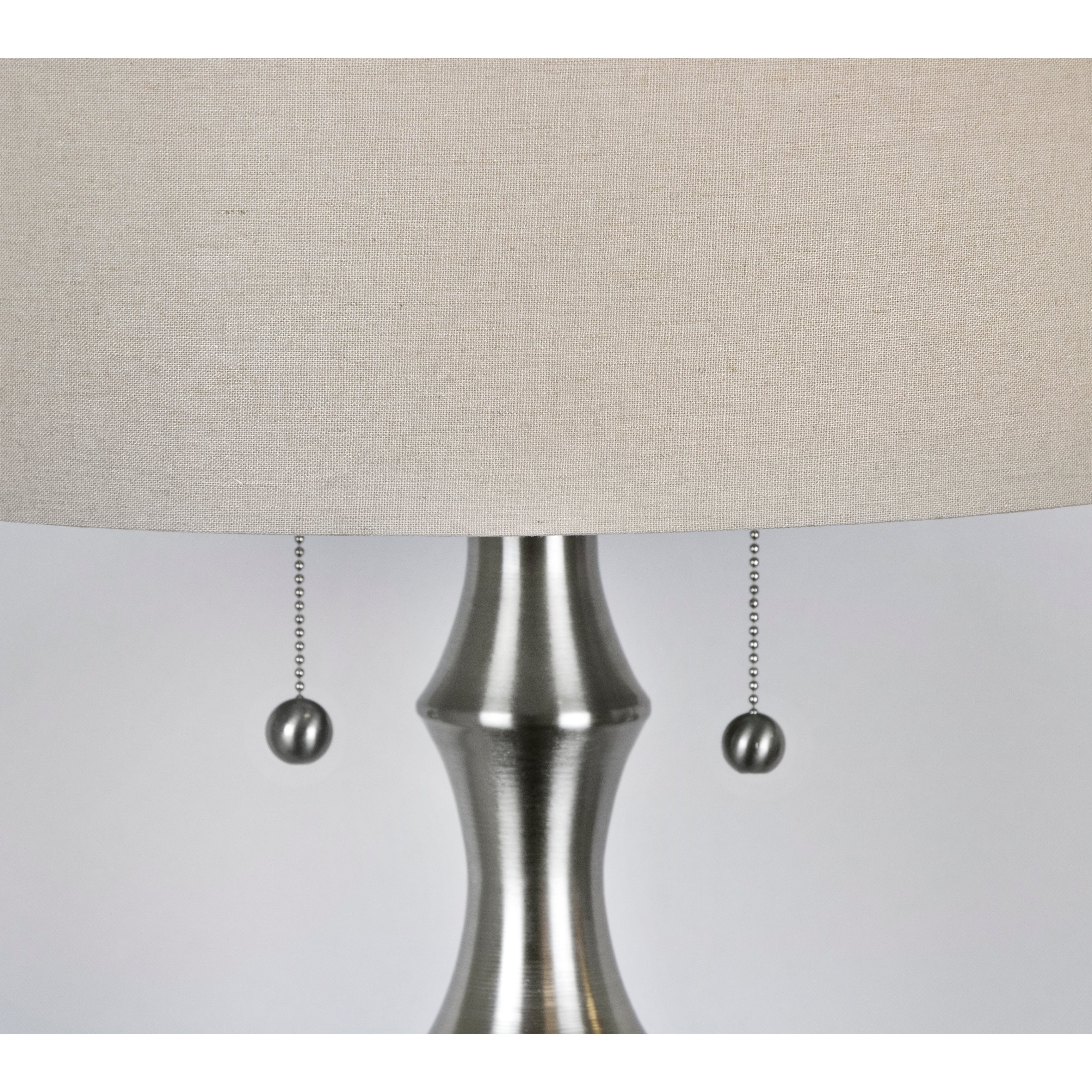 58 5 Brushed Nickel Table Lamp W Beige Fabric Drum Shade