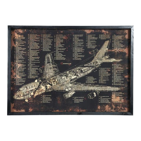 """UTC58624: Wood Rectangle Wall Art with Frame and Printed """"BOEING E-4B"""" Smooth Finish Black - N/A"""
