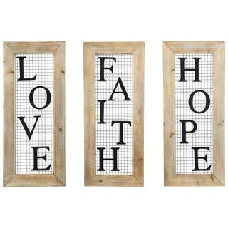 """UTC31098-AST: Wood Rectangle Wall Art with """"LOVE, FAITH, HOPE"""" Writing Vertically Weathered Finish Brown - N/A"""