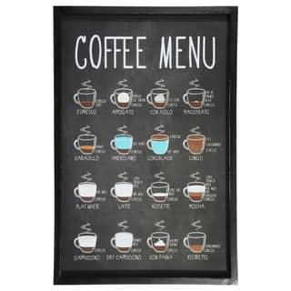 "UTC58629: Wood Rectangle Wall Art with Black Frame and Printed ""COFFEE MENU"" Smooth Finish White - N/A"