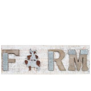 """UTC26521: Wood Rectangle Wall Art with Embossed Rustic Galvanized""""FARM"""" Natural Finish Brown - N/A"""