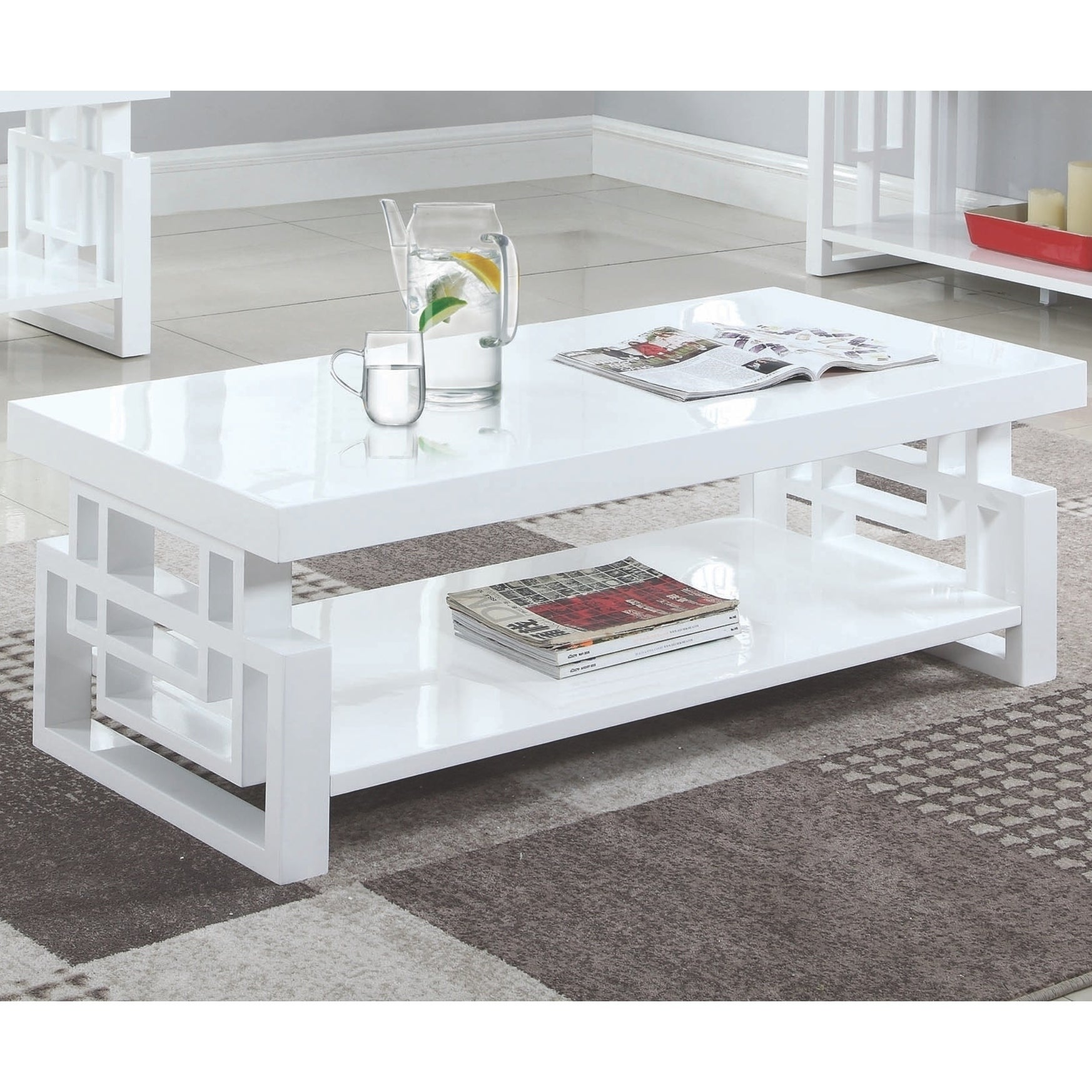 Modern Artistic Design High Glossy White Living Room Table Collection - Overstock - 29210670 - Coffee Table Only