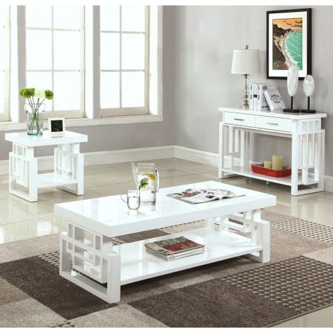 Modern Artistic Design High Glossy White Living Room Table Collection
