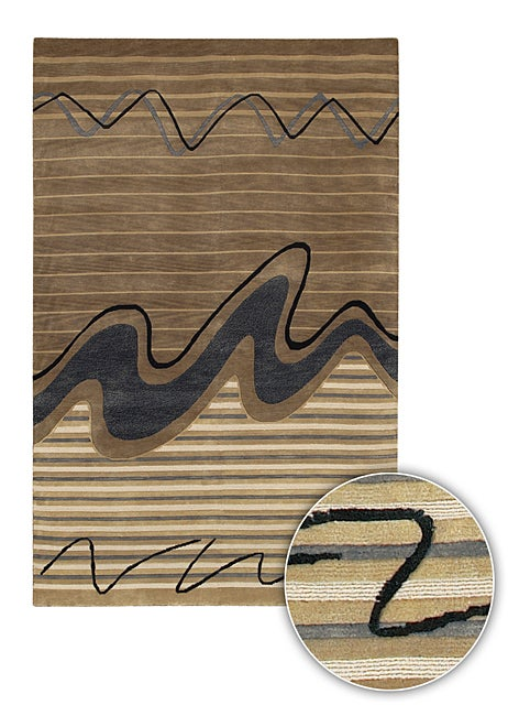 Artist's Loom Hand-knotted Contemporary Abstract Rug - 8' x 11'