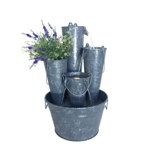 Zinc Metal Pails Fountain with LED