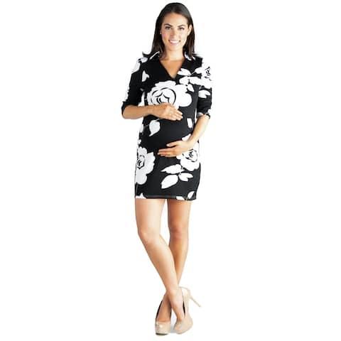 24seven Comfort Apparel Black and White Print Maternity Mini Dress