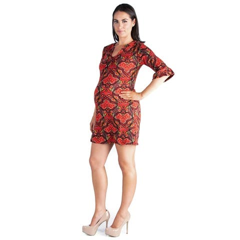 24seven Comfort ApparelOrange Print 3/4 Length Sleeve Tunic Dress