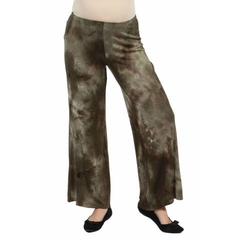 24seven Comfort Apparel Tie Dye Elastic Waist Flared Maternity Pants