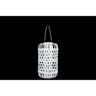 UTC16330: Wood Round Lantern with Removable Top Rope Hanger, Octagon Weave Design Body LG Painted Finish White