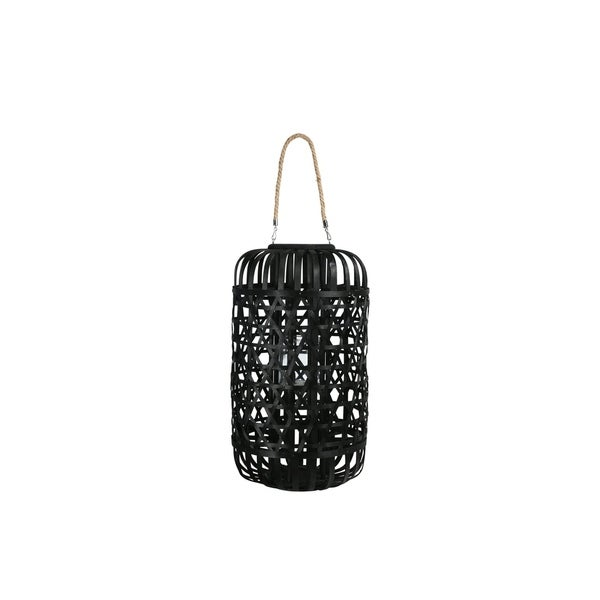 UTC16329: Wood Round Lantern with Removable Top Rope Hanger, Octagon Weave Design Body XL Painted Finish Black
