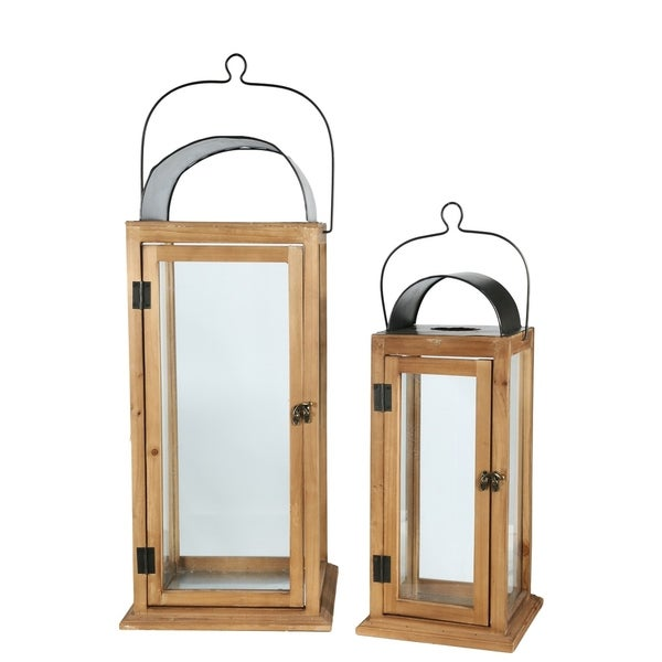 UTC26137: Wood Square Lantern with Black Metal Top Handle and Glass Covered Design Body Set of Two Natural Finish Brown
