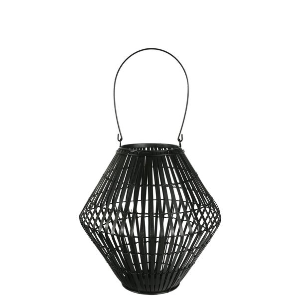 UTC17803: Bamboo Round Lantern with Top Handle, Lattice Design Body on Metal Frame and Tapered Bottom SM Painted Finish Black