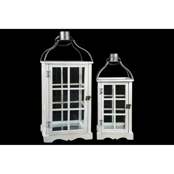 UTC26138: Wood Square Lantern with Metal Top Ring Hanger and Window Pane Glass Sides Design Body Set of Two Painted Finish White