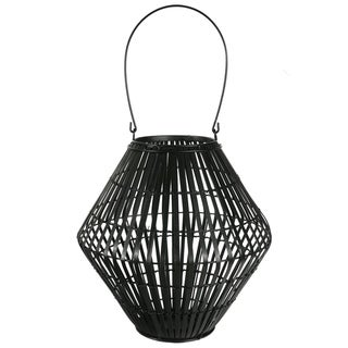 UTC17802: Bamboo Round Lantern with Top Handle, Lattice Design Body on Metal Frame and Tapered Bottom LG Painted Finish Black