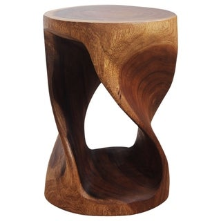 The Curated Nomad Corvino 20-inch Handmade Twisted Wood Stool