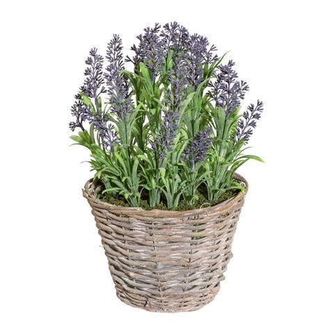 Artificial Purple Lavender Plant in Rustic Wicker Basket, 14 Inch
