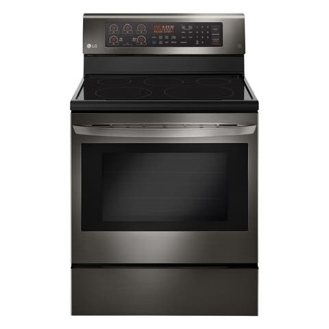 LG LRE3194BD 6.3 cu. ft. Electric Single Oven Range with True Convection and EasyClean - Black Stainless Steel