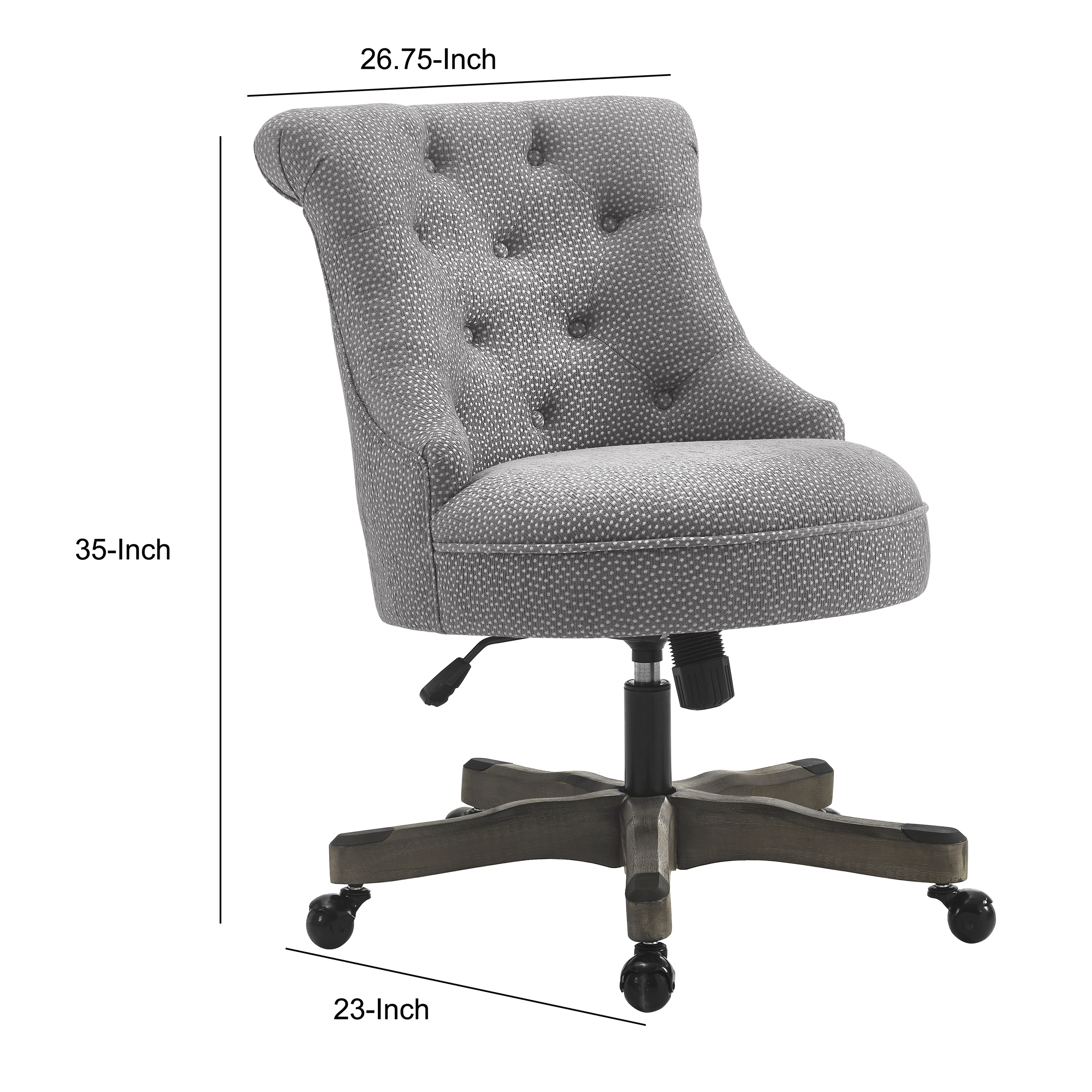 Wooden Office Chair With Textured Fabric Upholstery Gray On Sale Overstock 29212028