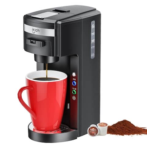 iKich Coffee Maker Single Serve Coffee Maker Coffee Brewerfor Single Cup Pods Capsules with 12 Ounce 8 Ounce Reservoir