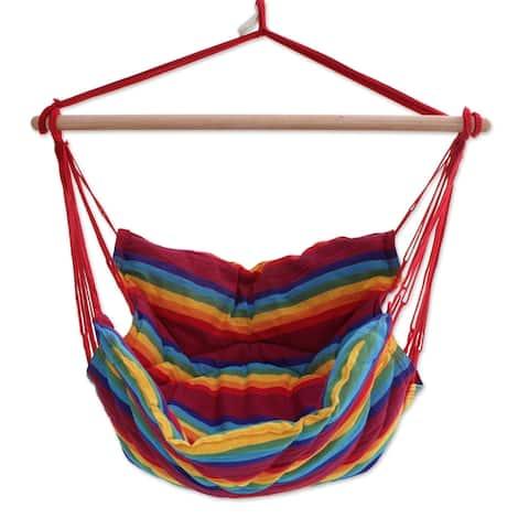 Handmade Jungle Rainbow Cotton Hammock Swing (Brazil)