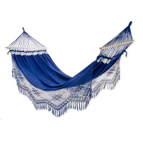Handmade Tropical Blue Cotton Hammock With Spreader Bars (Brazil)