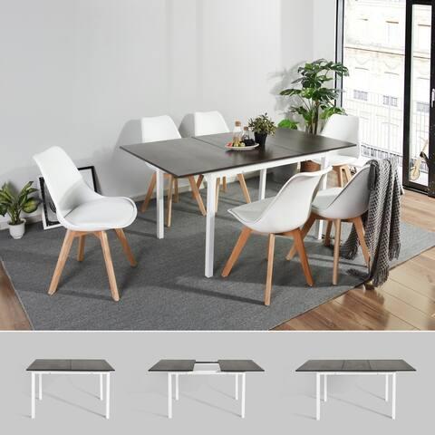 Carson Carrington Salgutsred Modern Extendable Wood Dining Table