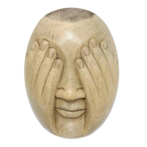 Handmade See No Evil Wood Mask indonesia