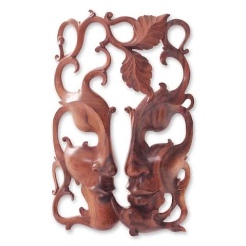 Handmade Three Good Relationships Wood Mask (indonesia)