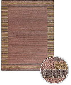 Artist's Loom Handmade Flatweave Casual Border Natural Eco-friendly Jute Rug (7'9x10'6)