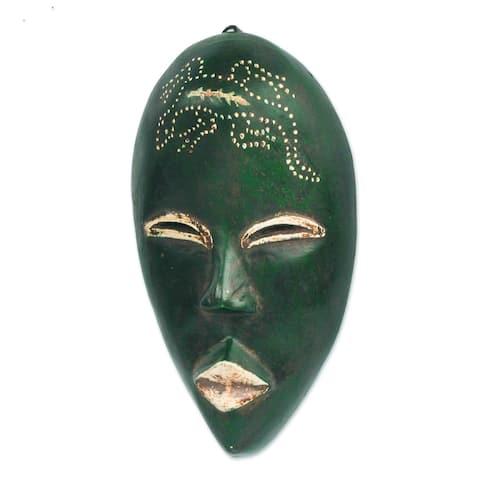 Handmade Green Nomsa African Wood Mask (Ghana)