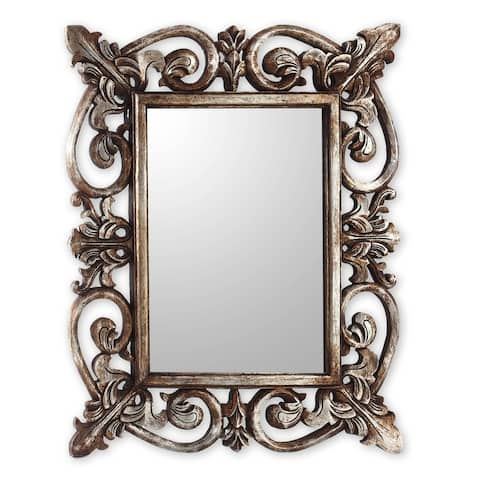 "Handmade Georgian Wood Mirror (Indonesia) - 31.5"" H x 25.5"" W x 1.6"" D"