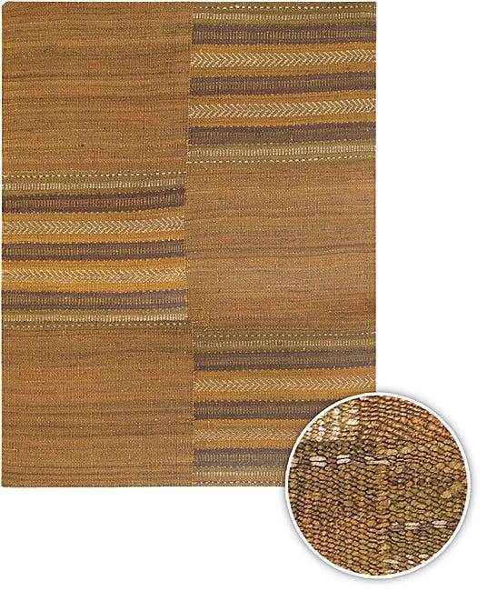 Handmade Transitional Brown Mandara Rug (9' x 13')