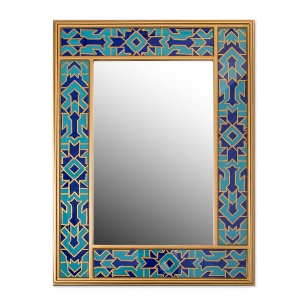 Blue Fascination Reverse-Painted Glass Mirror