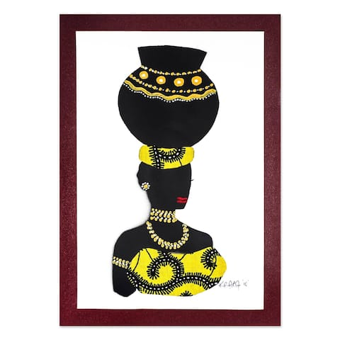 African Woman Painting With Yellow Cotton Accent Yaa In Yellow