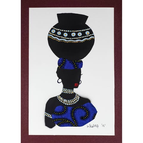 African Woman Painting With Blue Cotton Accent Yaa In Blue