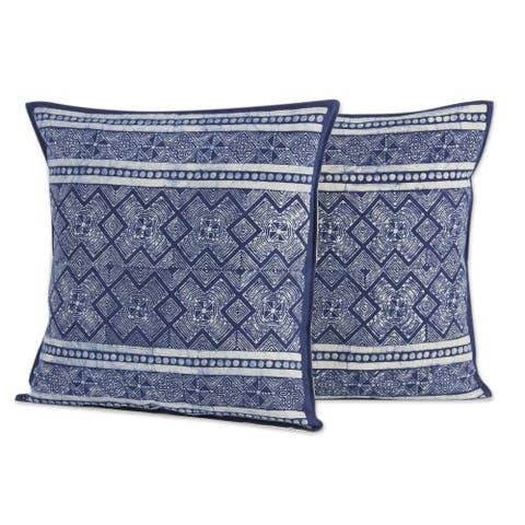 Handmade Hmong Energy Cotton Batik Cushion Covers, Set of 2 (Thailand)