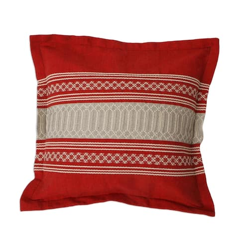 Handmade Chili Passion Cotton Cushion Cover (Mexico)