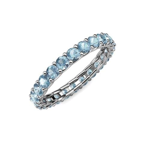 TriJewels Aquamarine Womens Eternity Ring Stackable 1.68 ctw 14KW Gold
