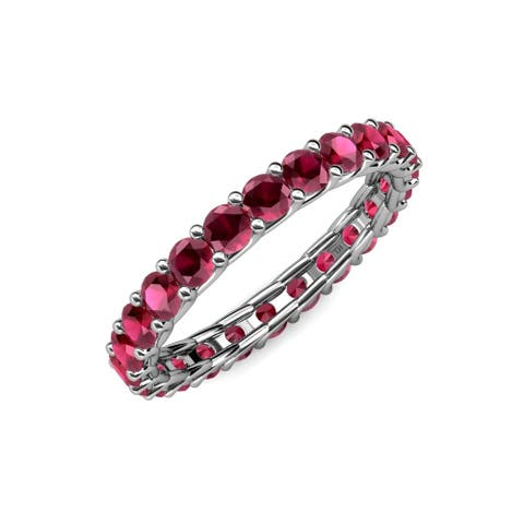TriJewels Ruby Womens Eternity Ring Stackable 2.21 ctw 14KW Gold