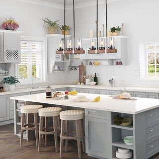 """Link to The Gray Barn Golden Dandelion 3-light Linear Island Chandelier for Kitchen - L22 x W3.9""""x H9.4"""" Similar Items in Chandeliers"""